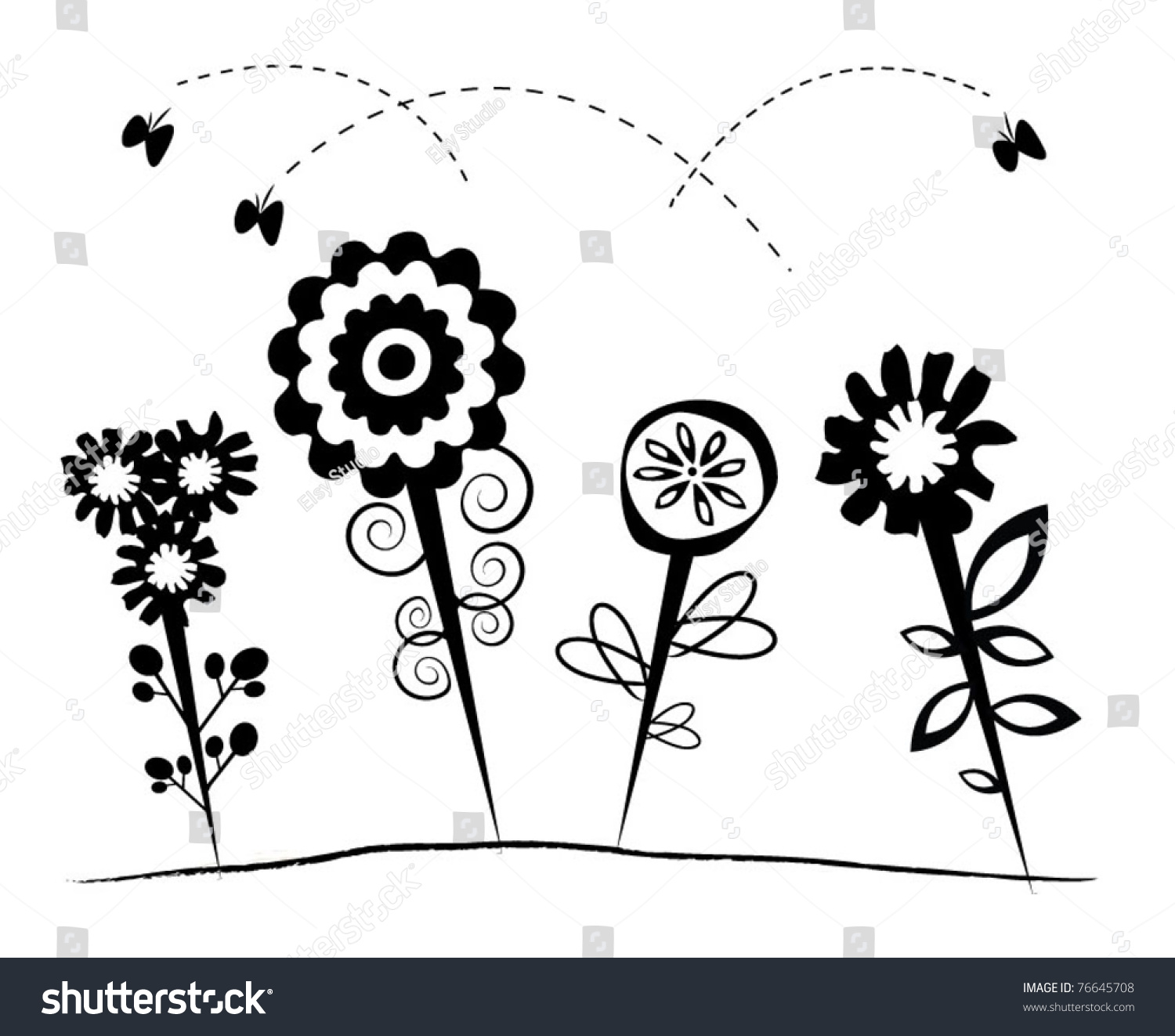 black and white abstract flower design