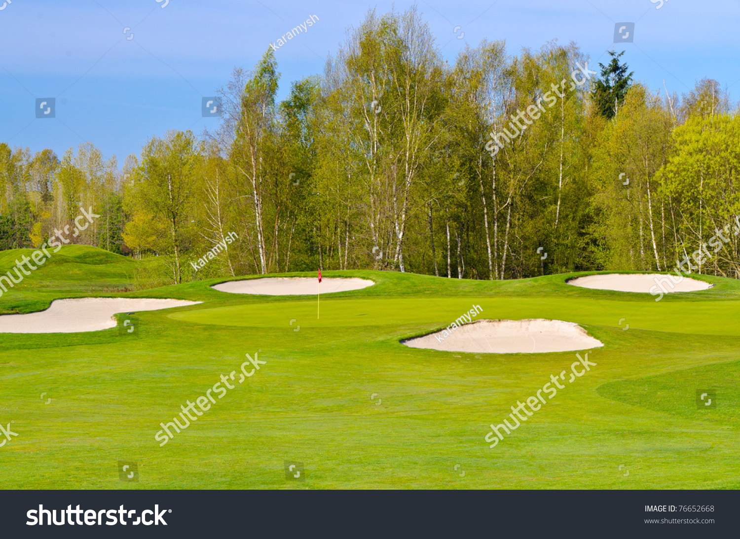 Golf Place With Gorgeous Green And Nice Forest View. Stock