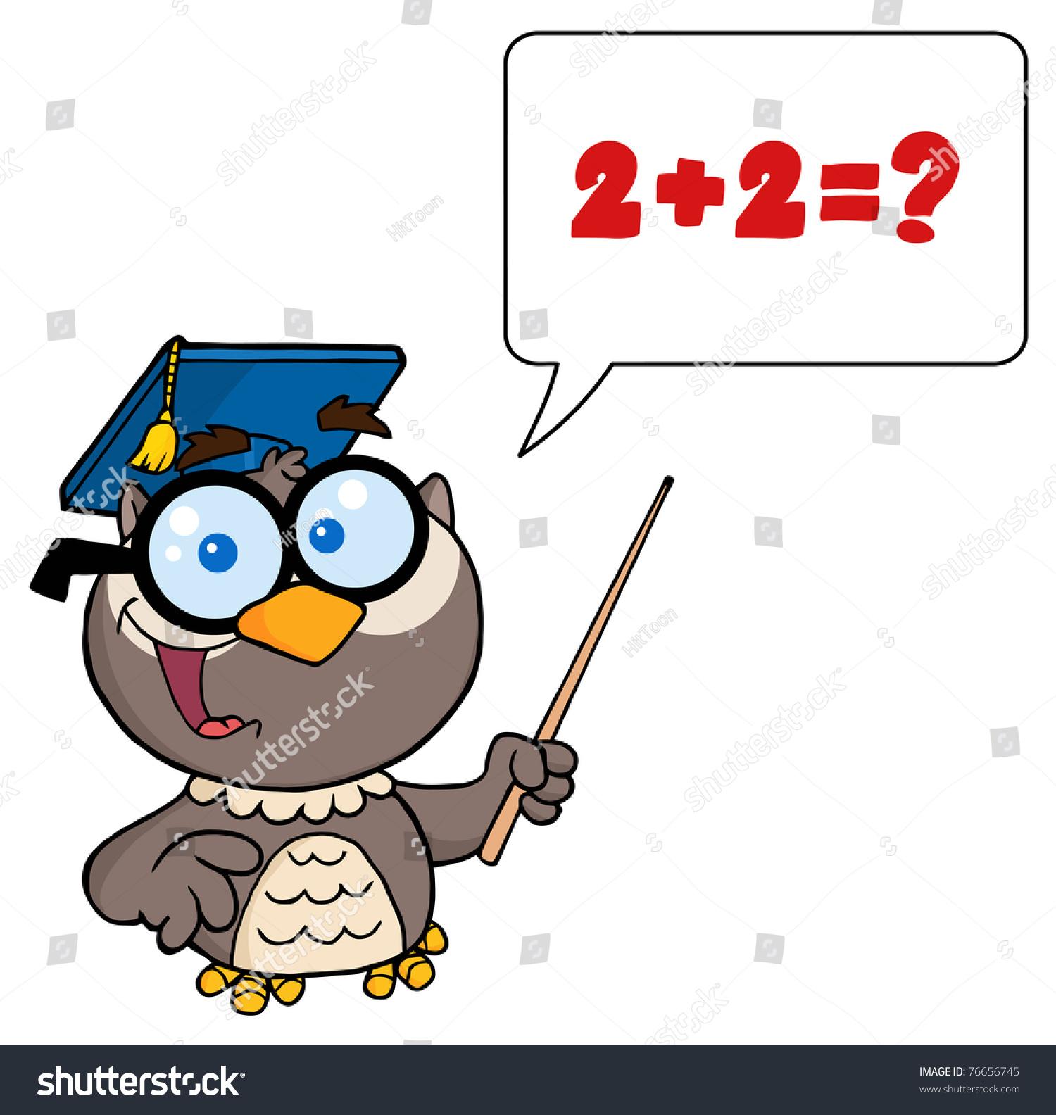 Owl teacher cartoon character with graduate cap pointer