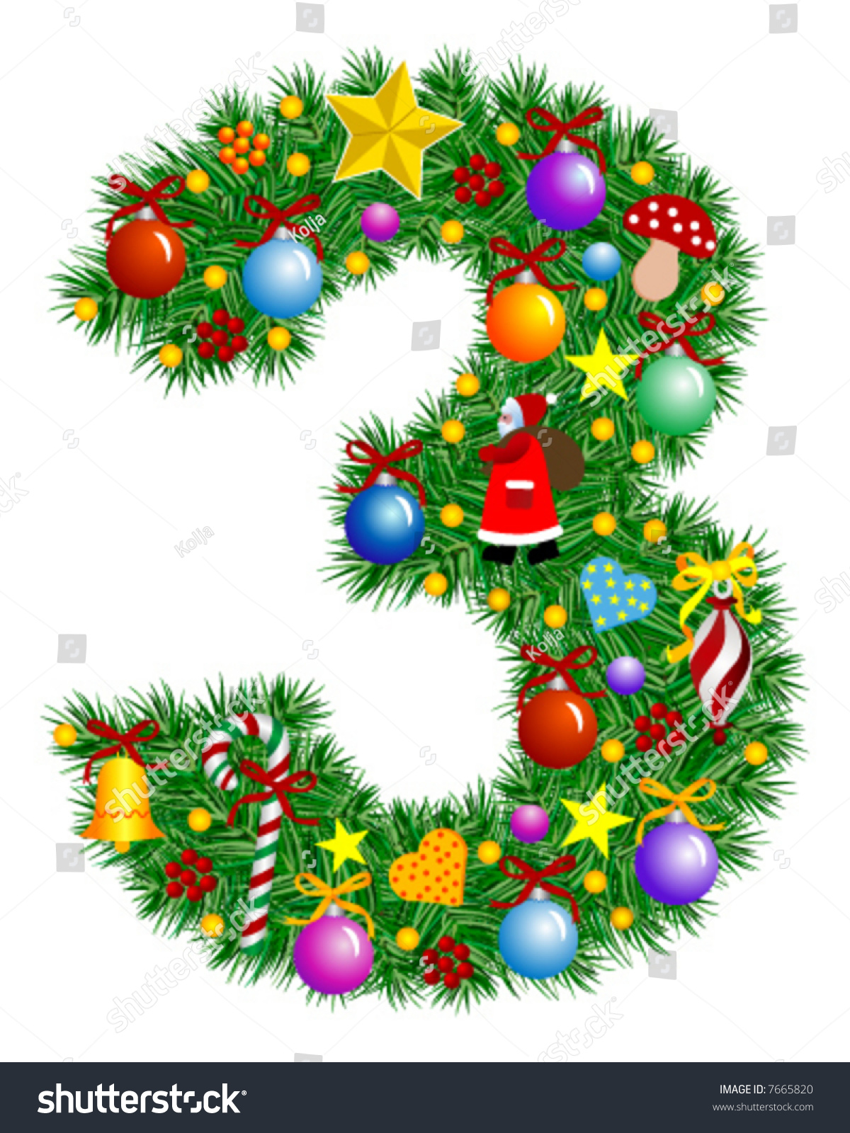 Number 3  Christmas Tree Decoration  Part Of A Full Set Vector