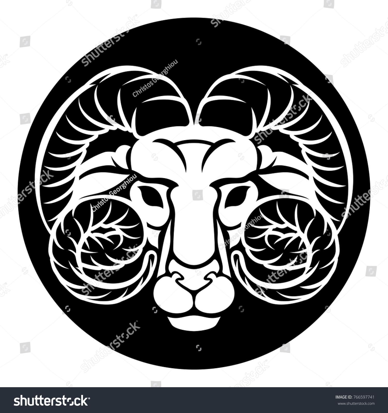 Horoscope Astrology Zodiac Signs Circular Aries Stock Vector