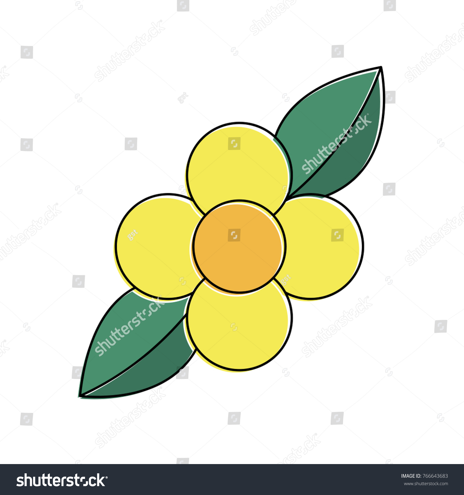 Yellow Flower Leaves Natural Flora Bloom Stock Vector Royalty Free