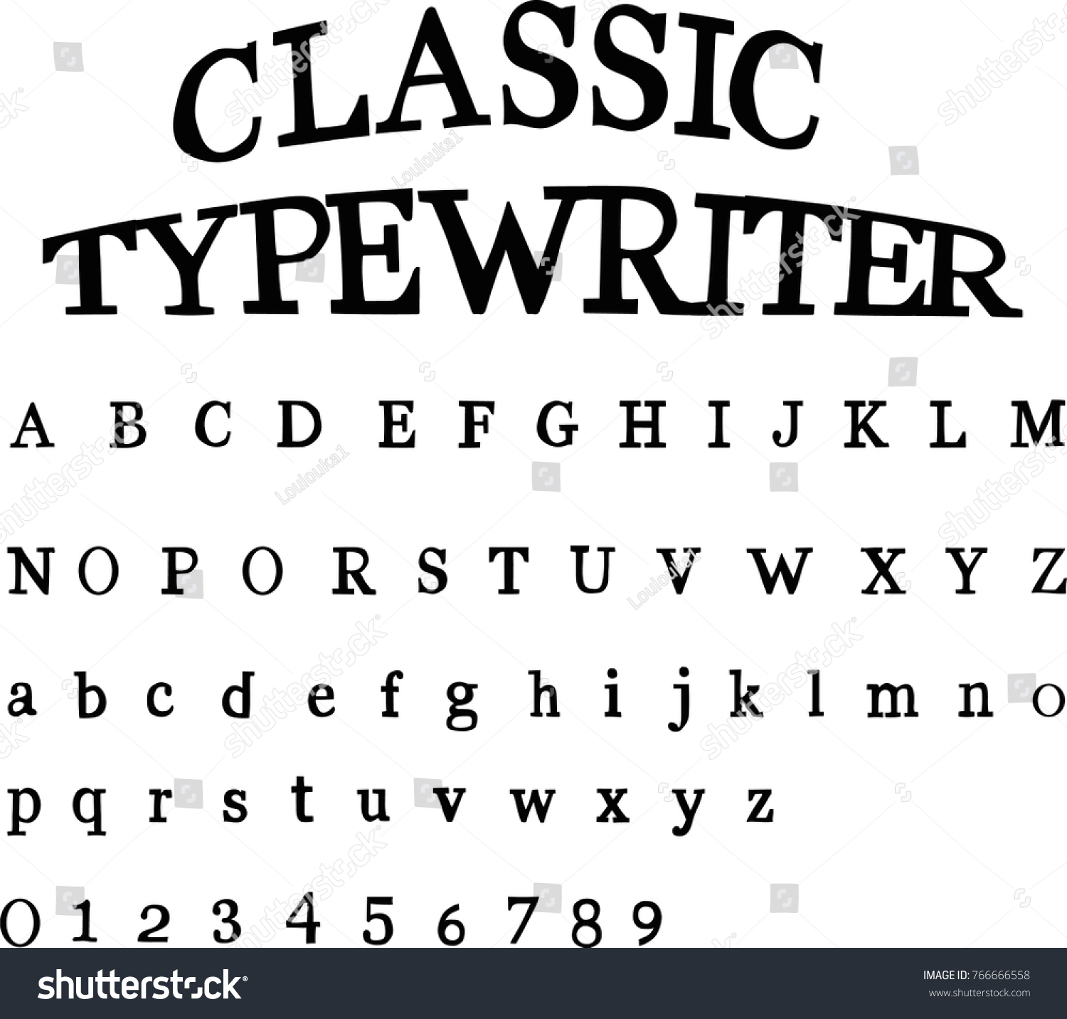 Classic Typewriter Font Stock Vector (Royalty Free) 766666558