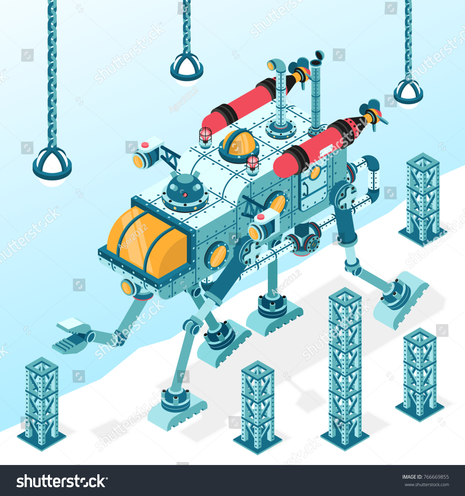 Fantastic Steampunk Transport Machine On Four Stock Vector (Royalty ...