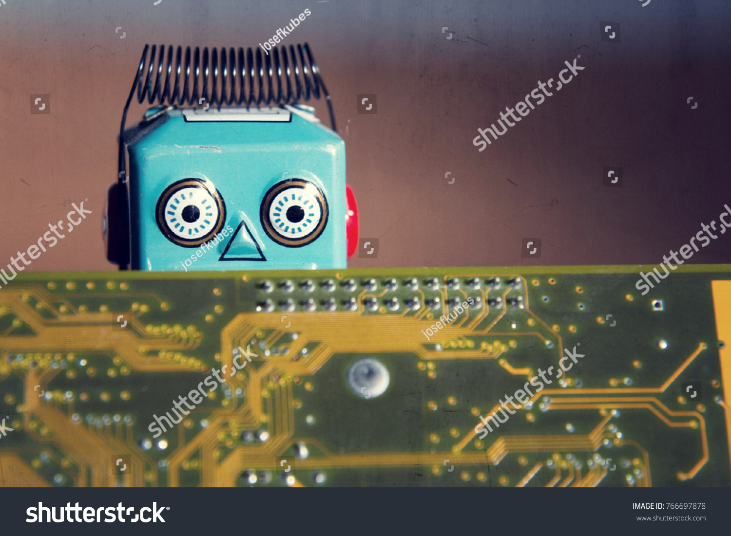 Vintage Tin Toy Robot Hiding Behind Stock Photo Edit Now 766697878 Circuit Board Orange Computer Artificial Intelligence Concept