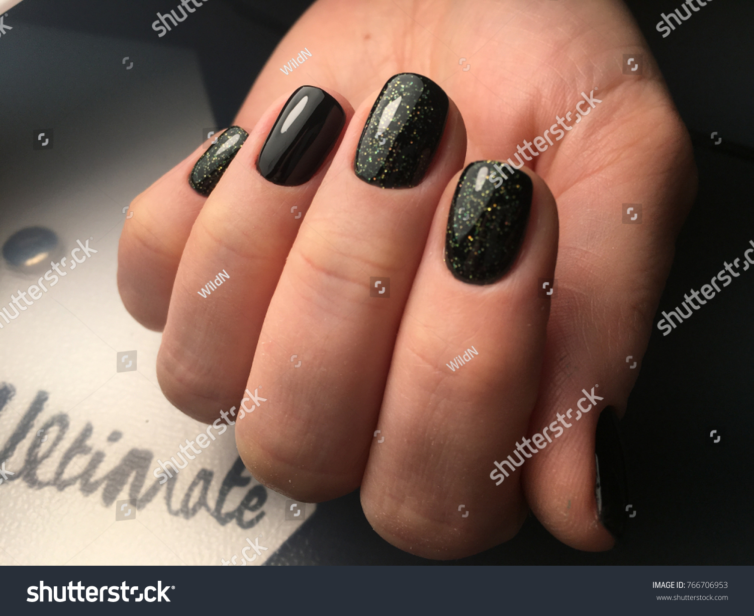 Shine Green Black Nails Manicure Beauty Stock Photo (Royalty Free ...