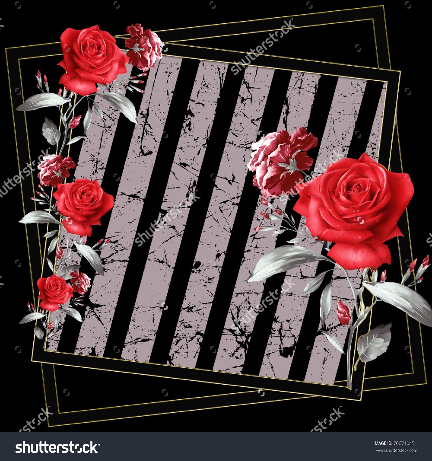 Red Flowers Pattern Silk Scarf Design Fashion Stock Illustration