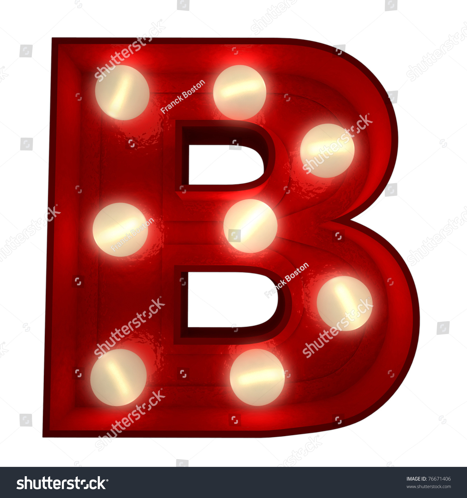 3d Rendering Of A Glowing Letter B Ideal For Show Business Signs ...