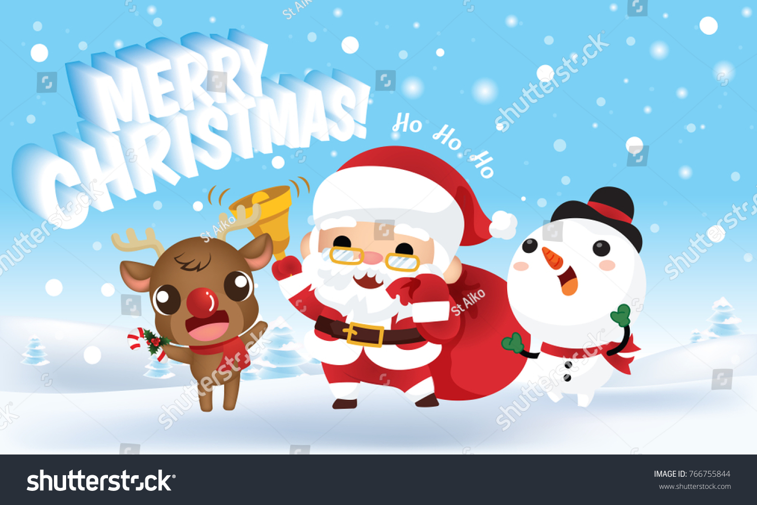Cute cartoon santa claus gift bag 766755844 cute cartoon santa claus with gift bag standing with reindeer and snowman on winter snowing background negle Image collections