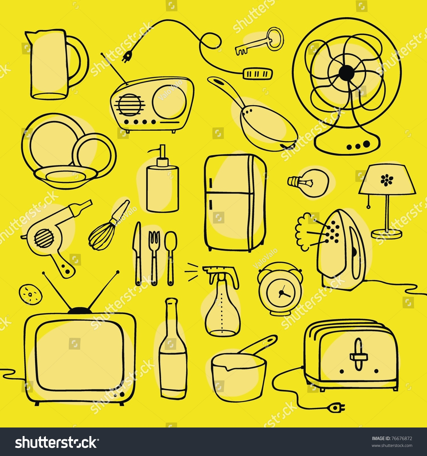Household items set stock vector 76676872 shutterstock - New uses common items ...
