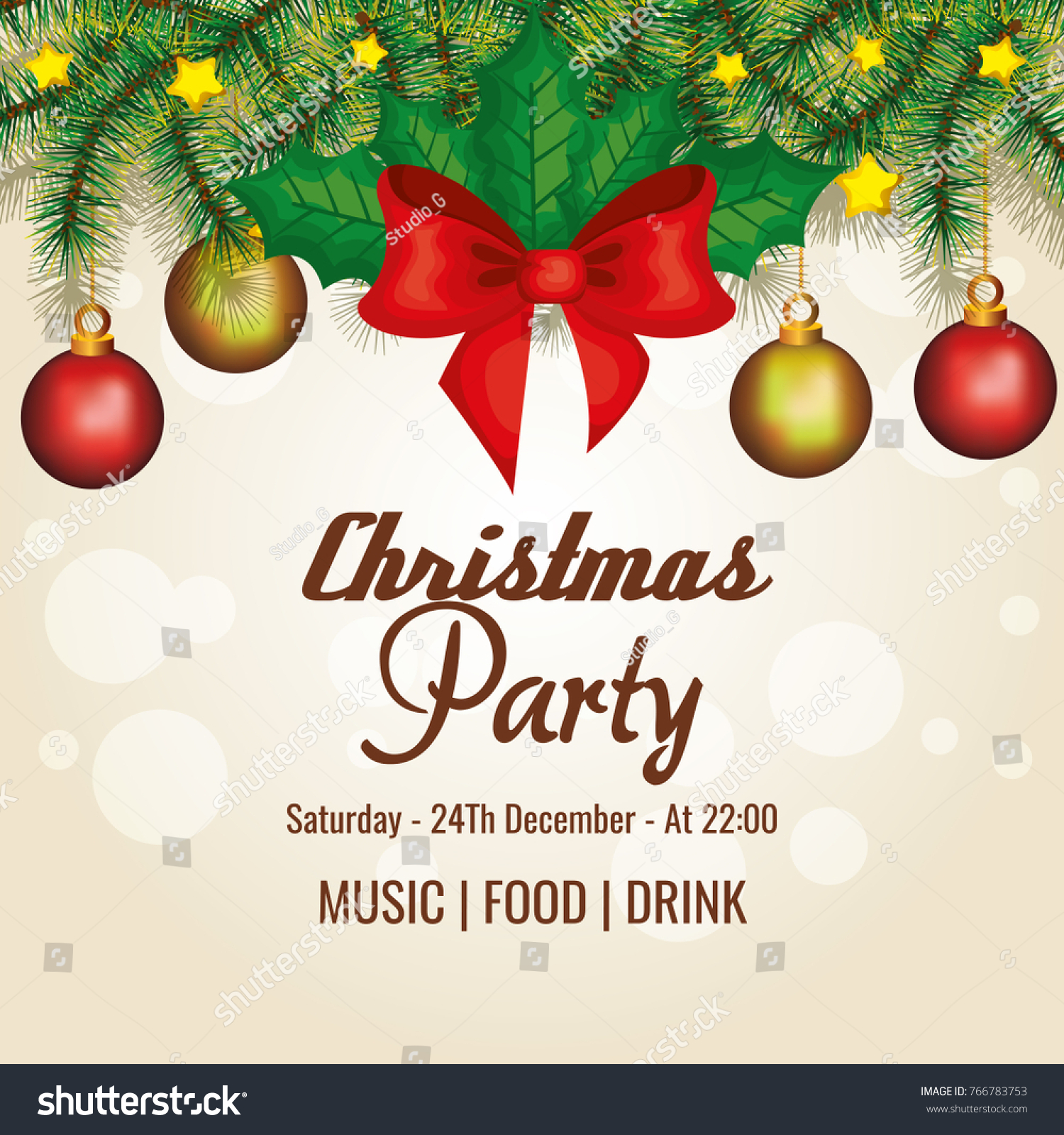 Invitation Christmas Party Stock Vector 766783753 - Shutterstock