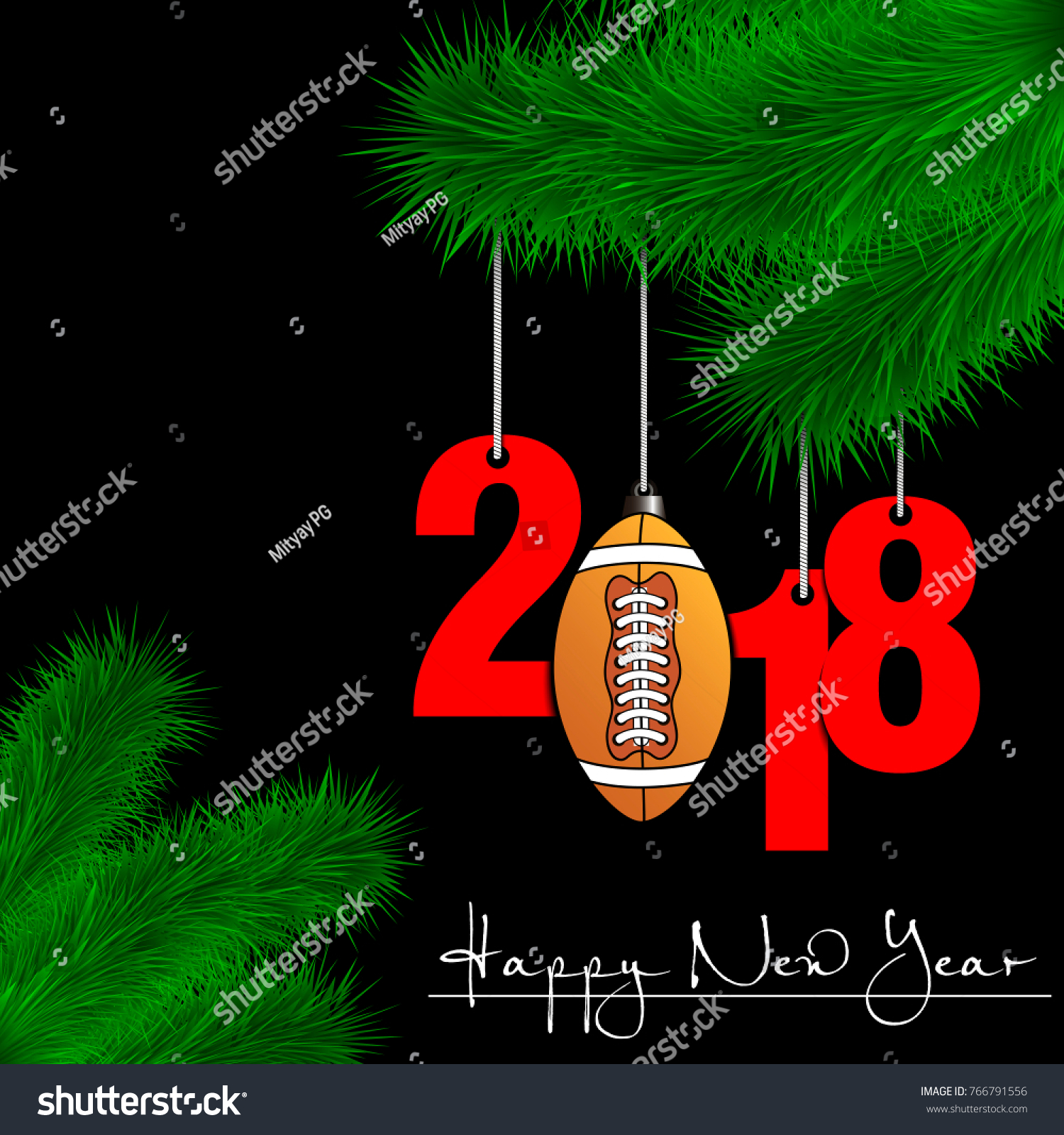Happy New Year Numbers 2018 Football Stock Vector Royalty Free