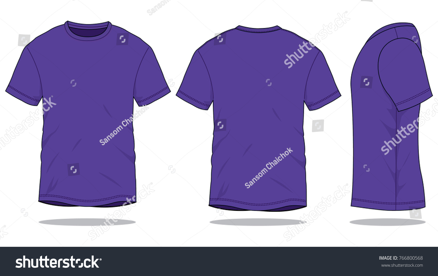 Purple Classic T Shirt Template Front Back Side Stock Vector (2018 ...