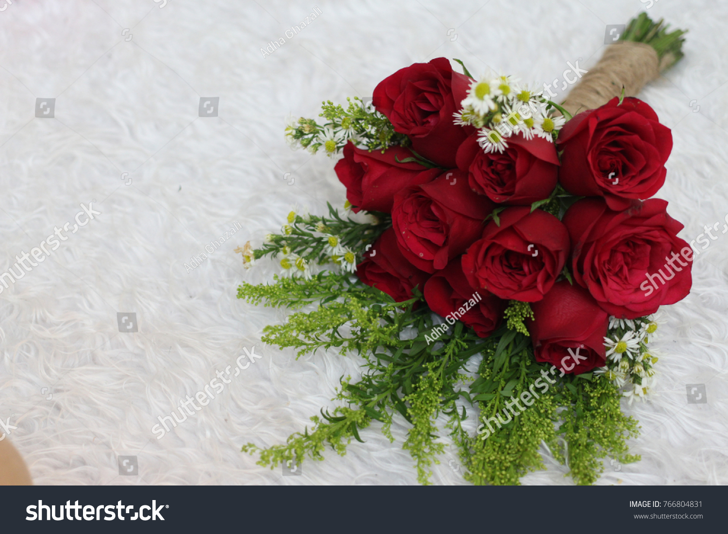Red Rose Bouquet On White Carpet Stock Photo Edit Now 766804831