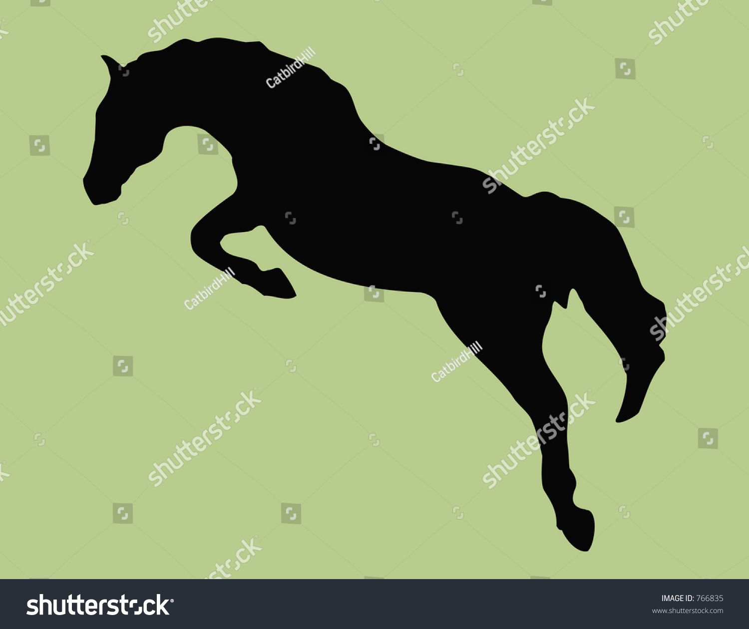 Equestrian jumping silhouette