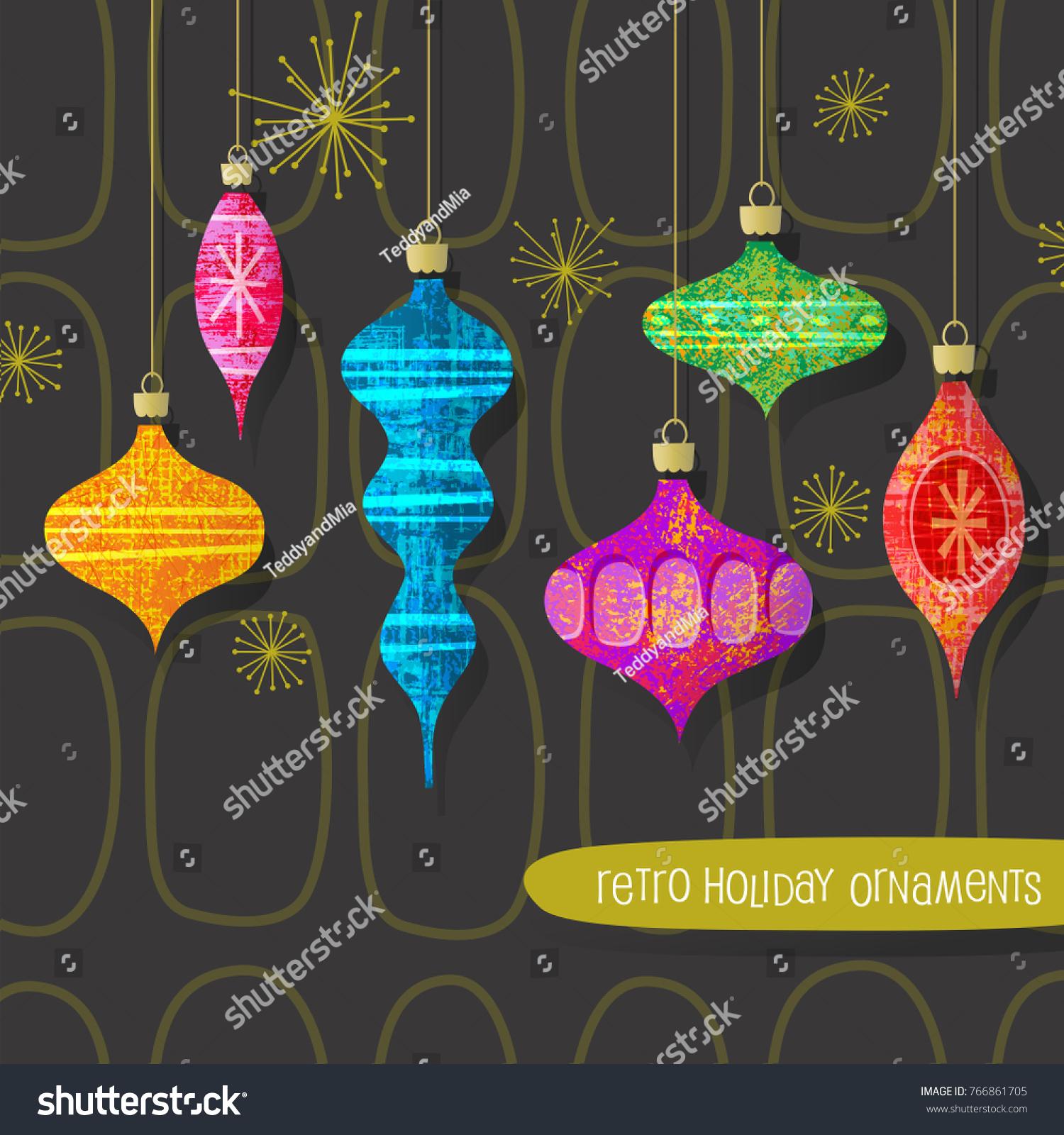 Set Vintage Retro Christmas Ornaments Vector Stock Vector (Royalty ...