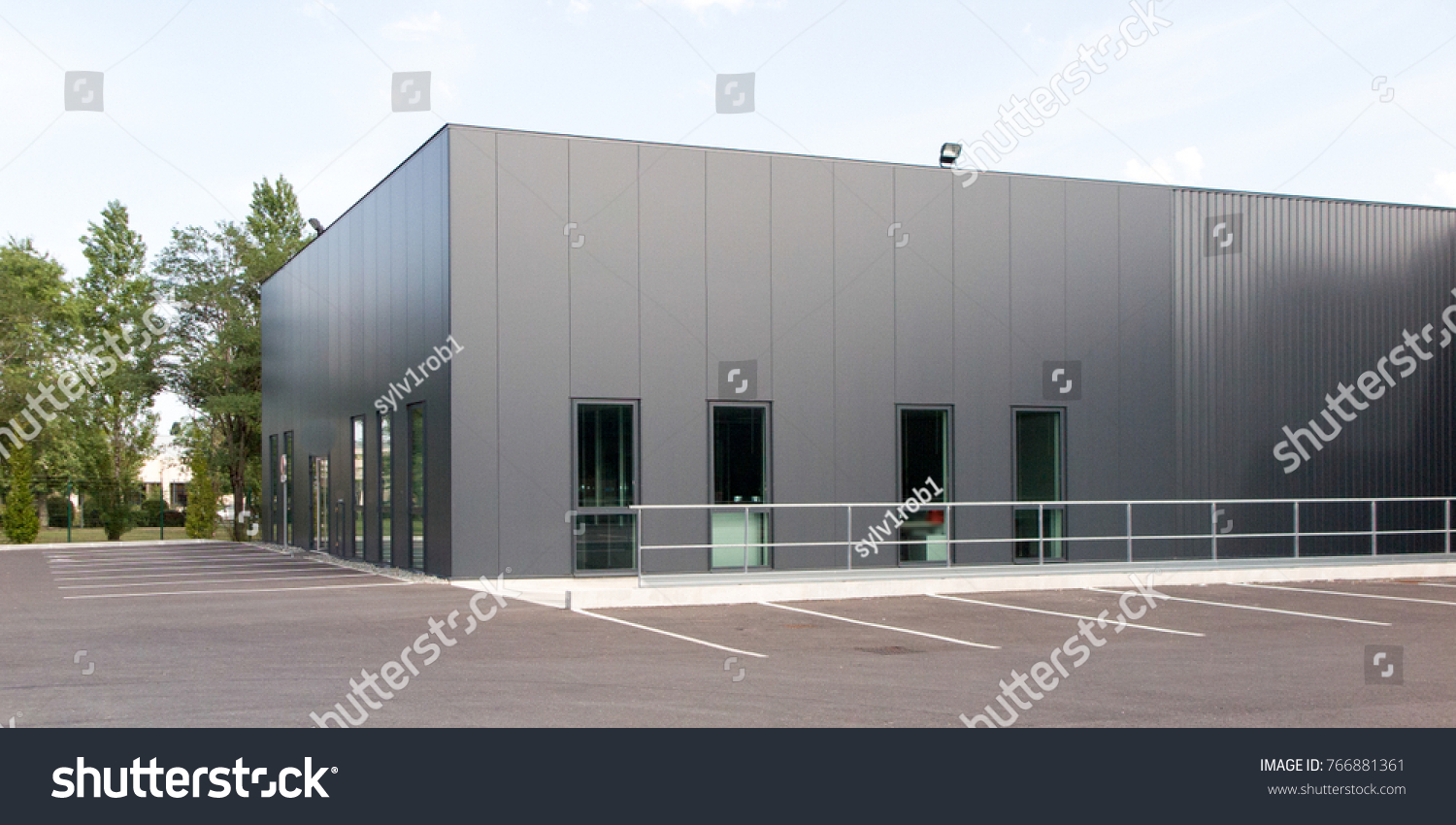 grey and green building for industry or business  #766881361