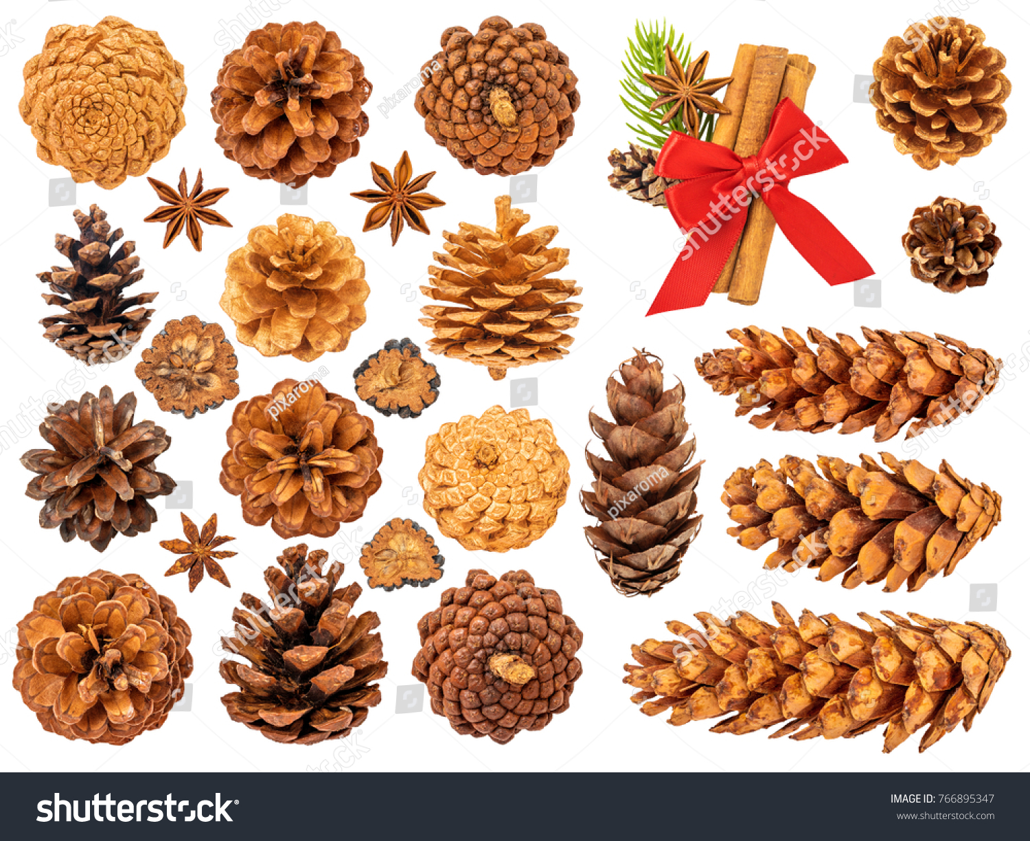 Christmas Pine Cones Isolated On White Stock Photo (Royalty Free ...