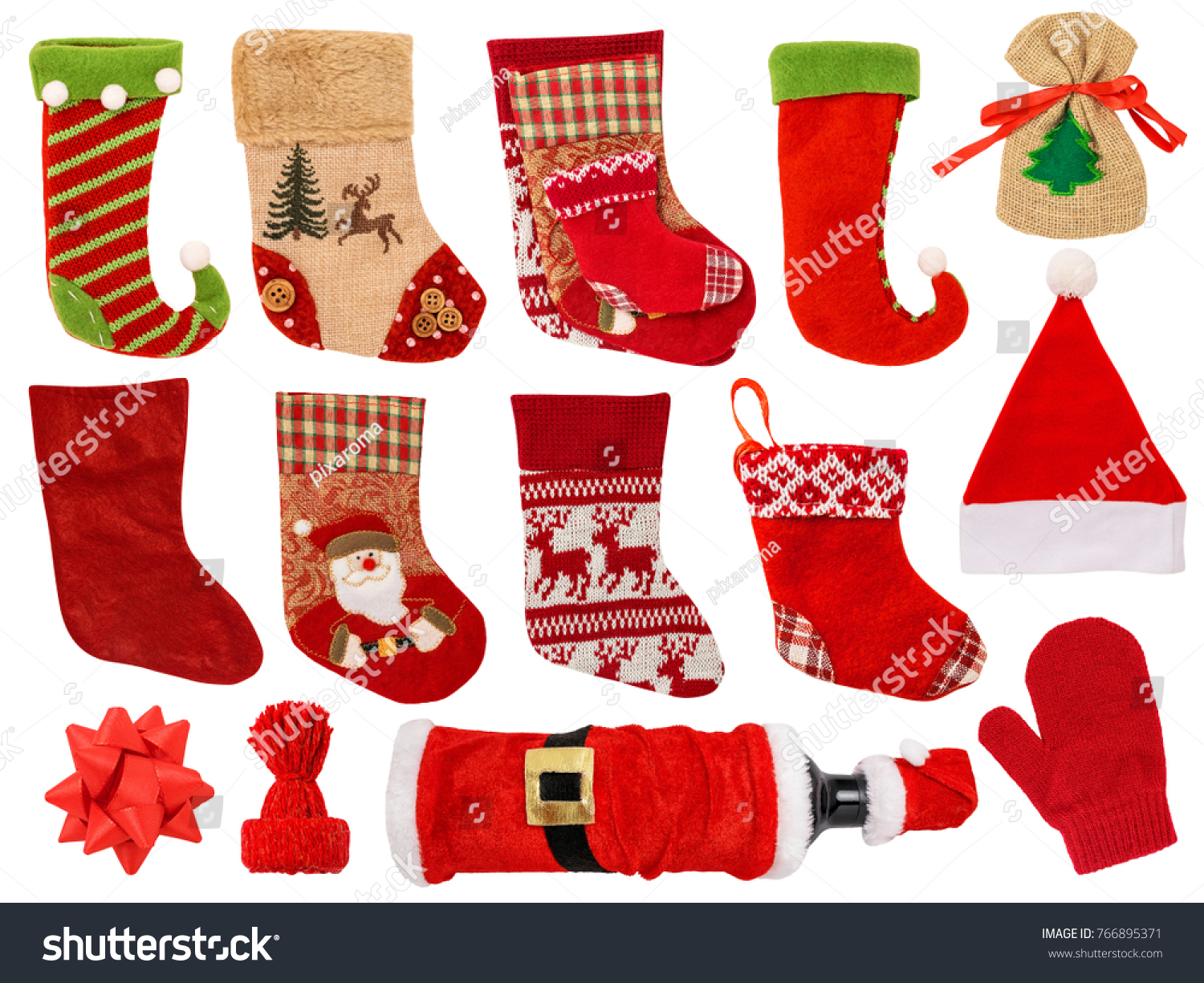 c7722b080cc Christmas Stocking Isolated on White Background. Contains different types  of stocking