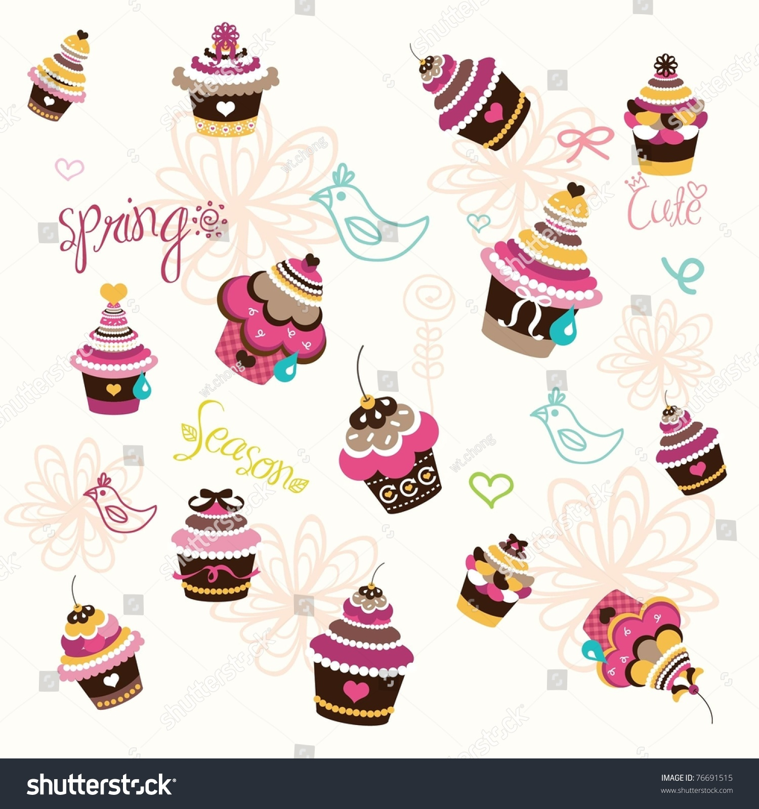 Cupcake Wall Paper Design Stock Vector Illustration ...