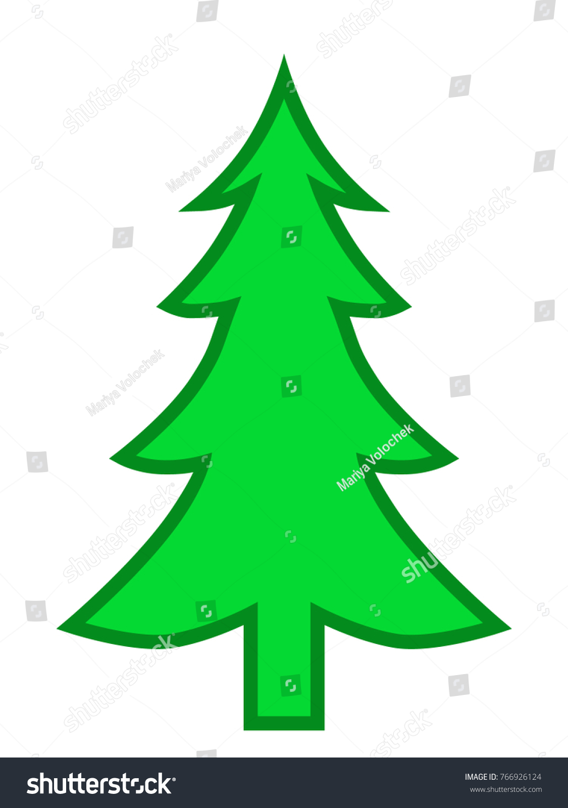 Green Christmas Tree Isolated Vector Color Stock Vector 766926124 ...