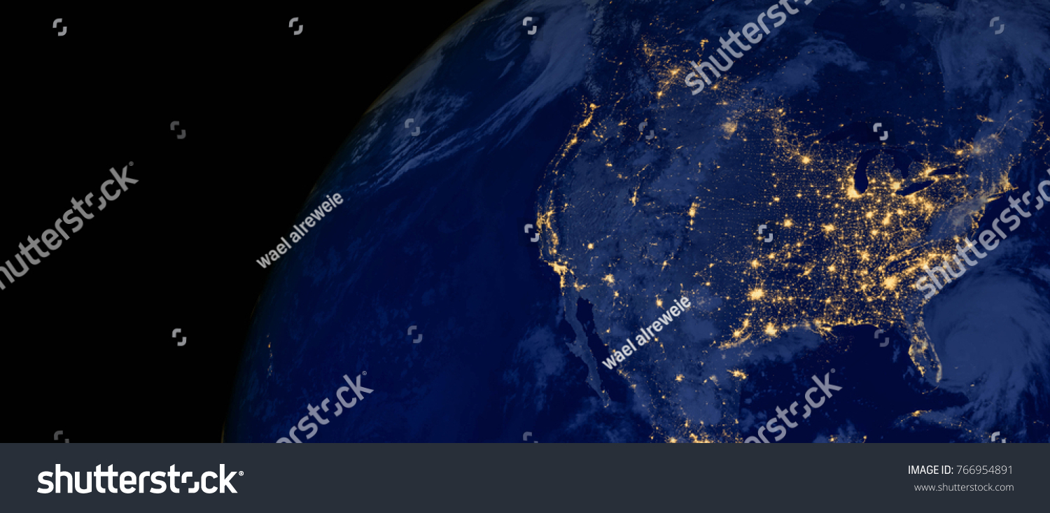 United States of America lights during night as it looks like from space. Elements of this image are furnished by NASA #766954891