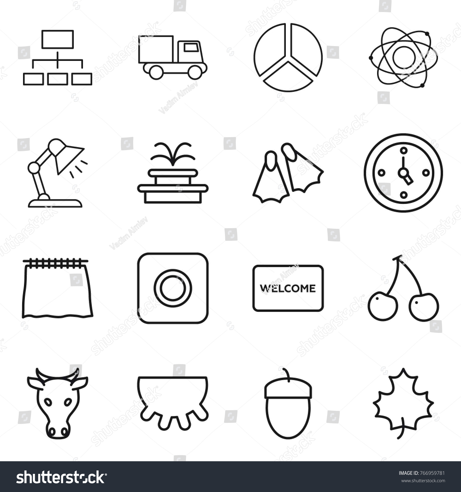Thin line icon set hierarchy truck stock vector 766959781 shutterstock thin line icon set hierarchy truck diagram atom table lamp ccuart Choice Image