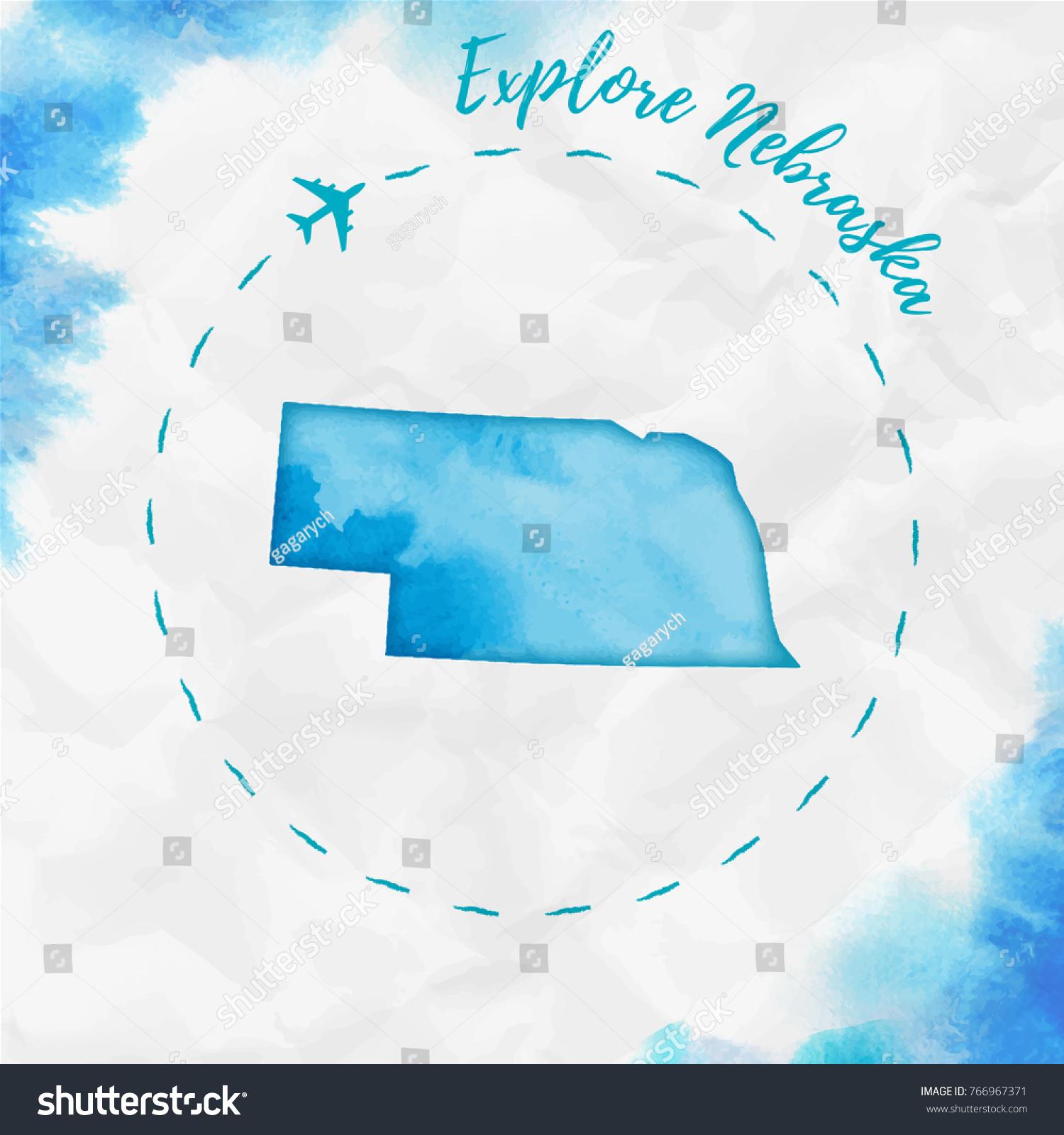 Nebraska Watercolor Us State Map Turquoise Stock Vector - Nebraska on us map