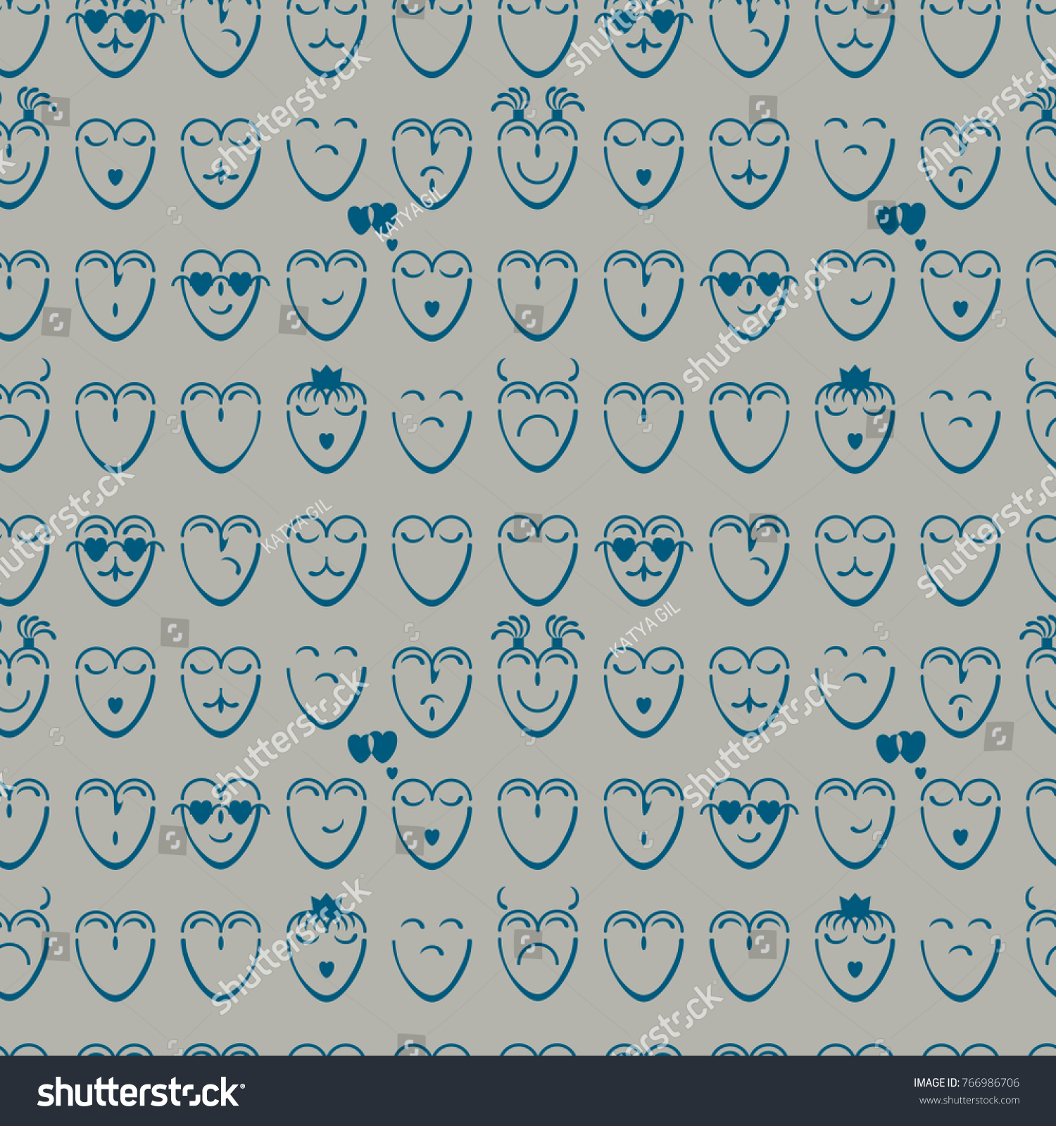 Seamless Pattern Of Blue Hearts With Different Moods On A Blue Background Nice Look