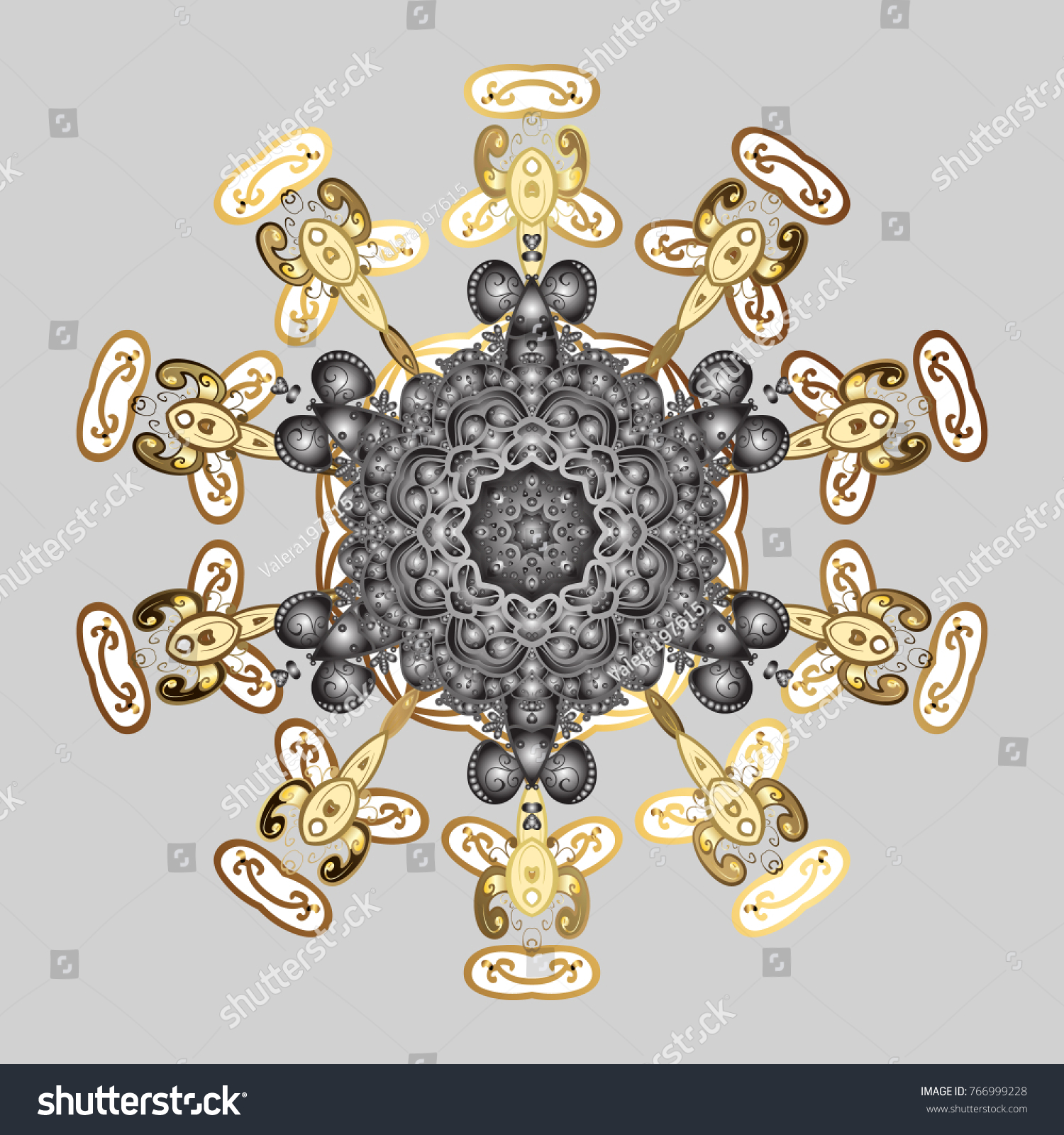 Coloring Pages Zentangle Elegant Snow Flake Stock Vector (Royalty ...