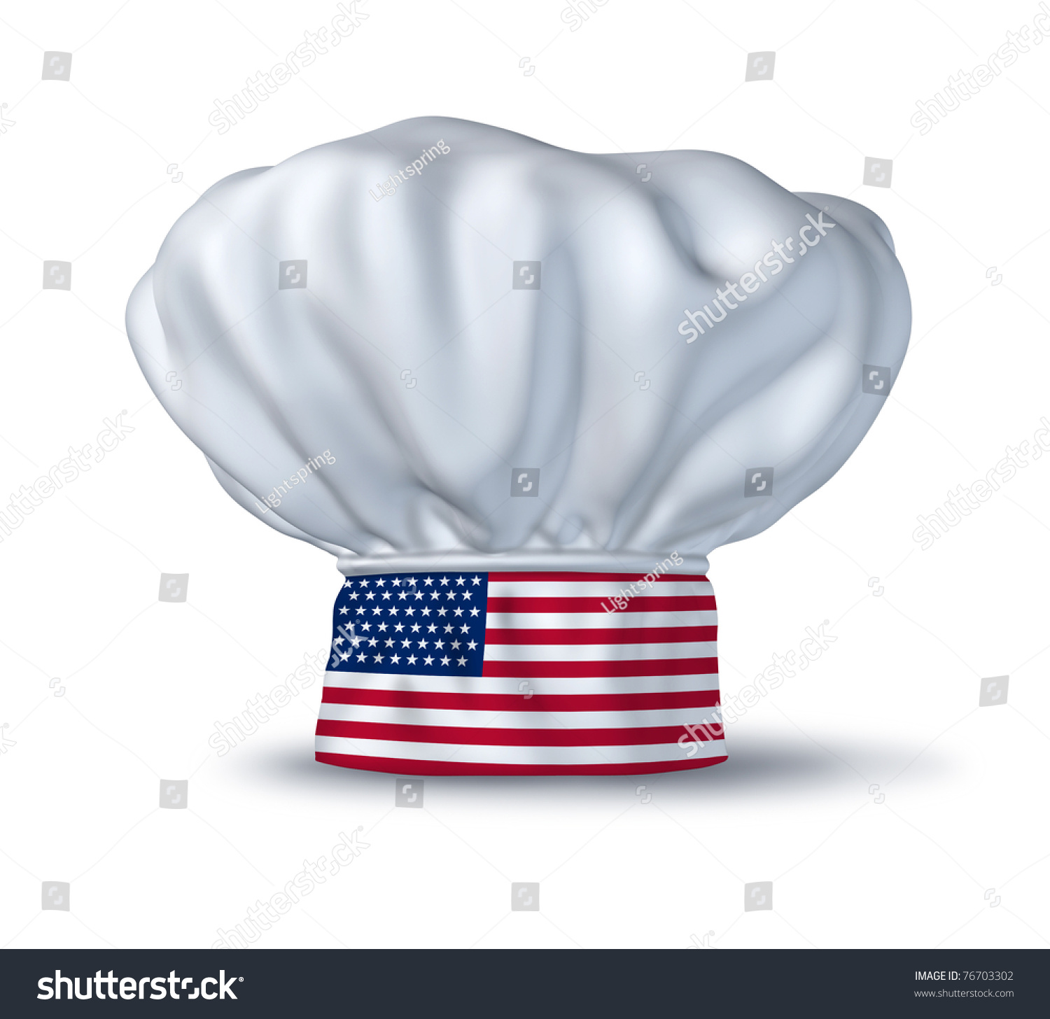 U S Cooking: American Cooking Symbol Represented By A Chef Hat With The