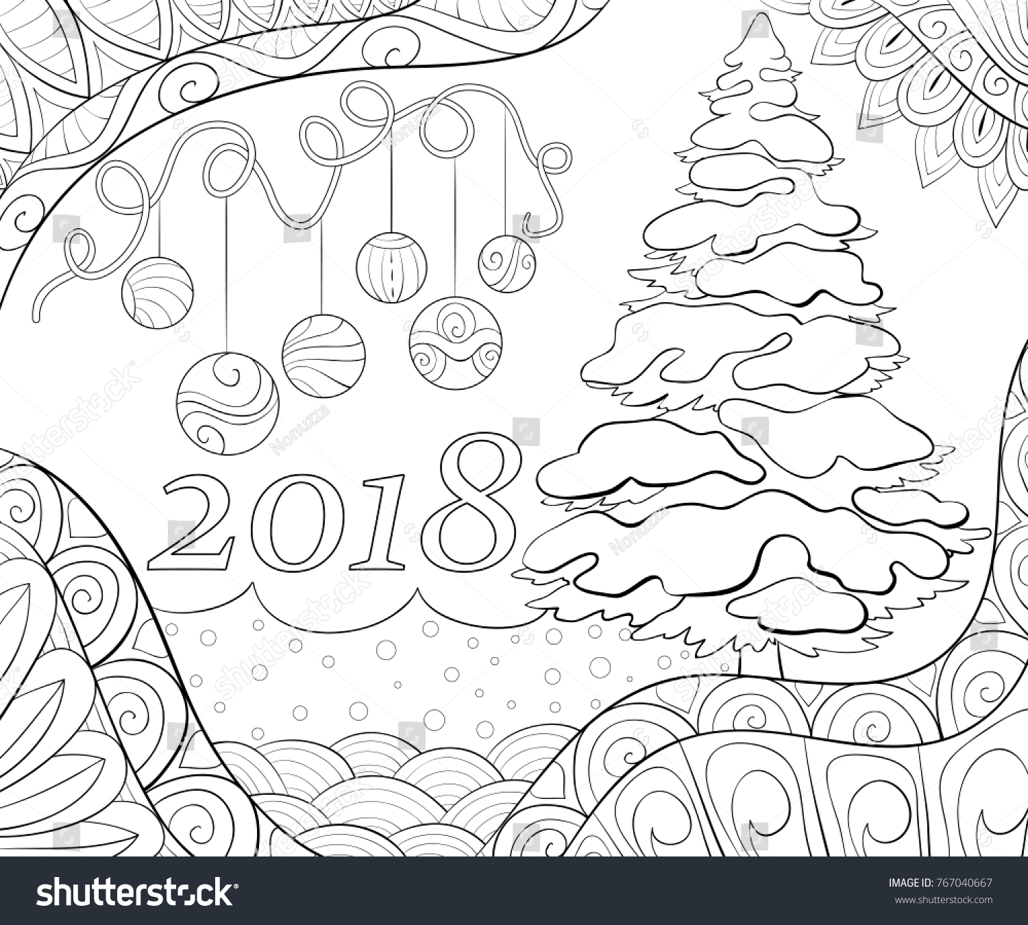 Adult Coloring Page Christmas Theme Illustration Stock Vector