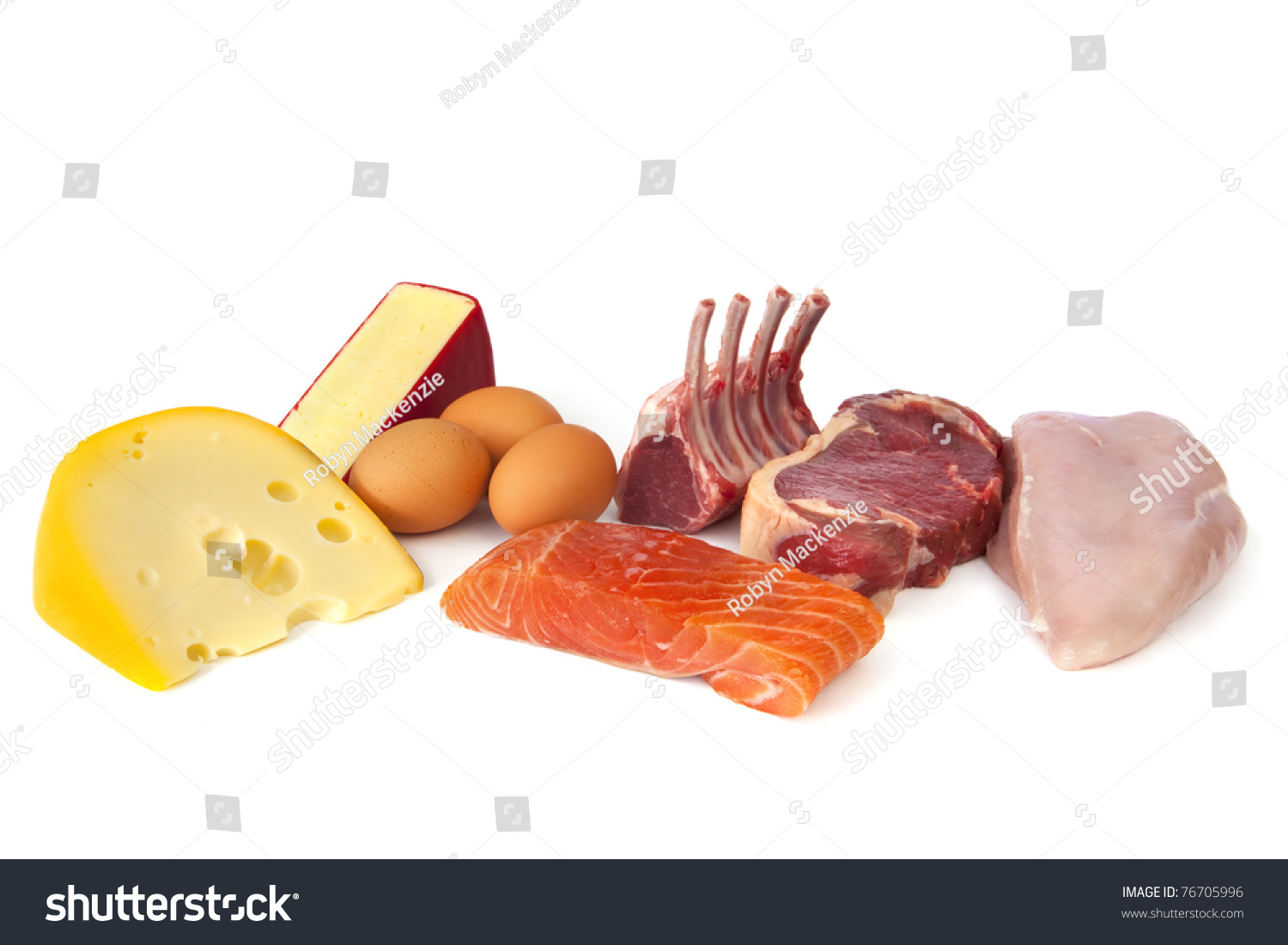 Foods Rich In Protein, Including Cheese, Eggs, Fish, Lamb, Beef ...