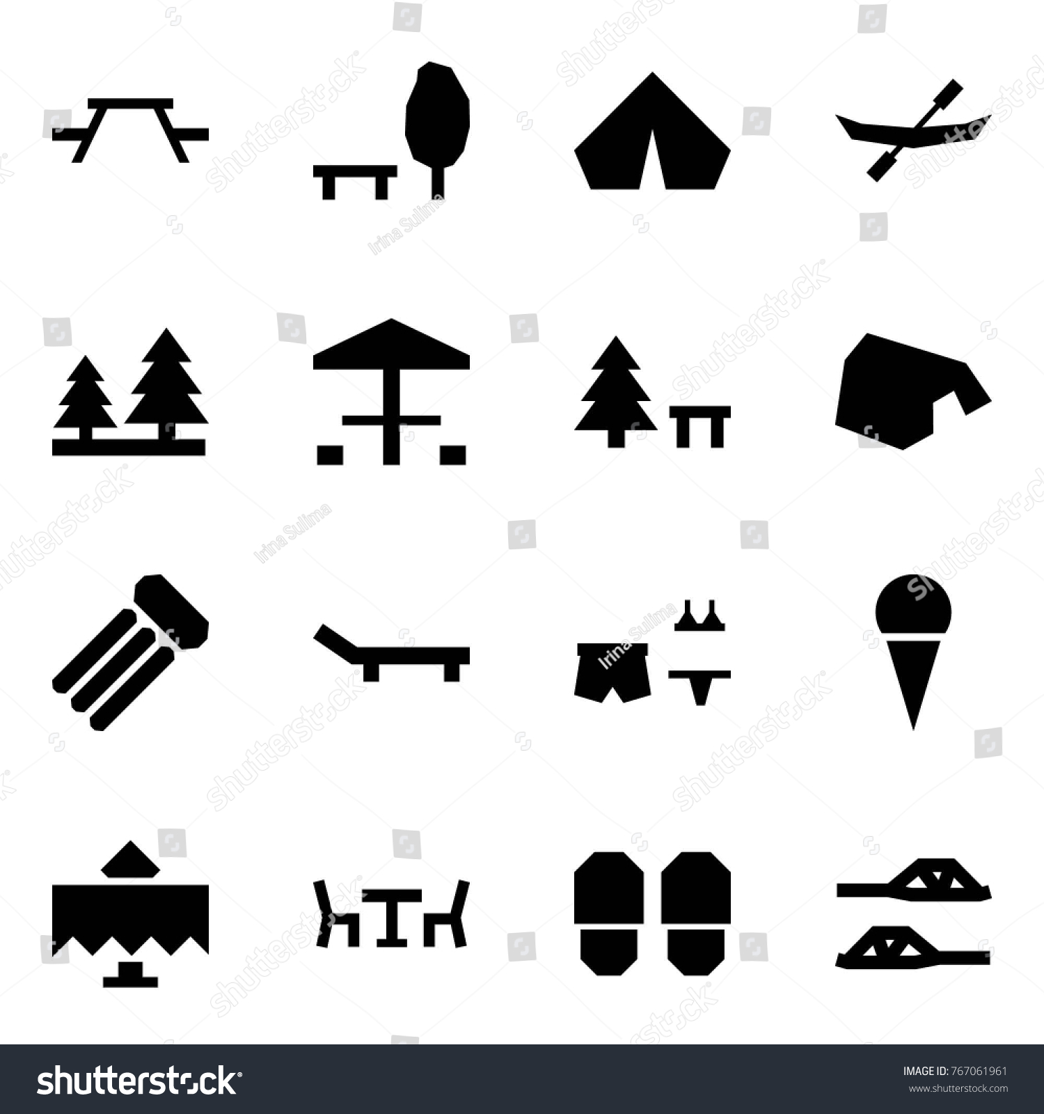 Origami style icon set picnic table stock vector 767061961 origami style icon set picnic table vector park tent canoe forest biocorpaavc