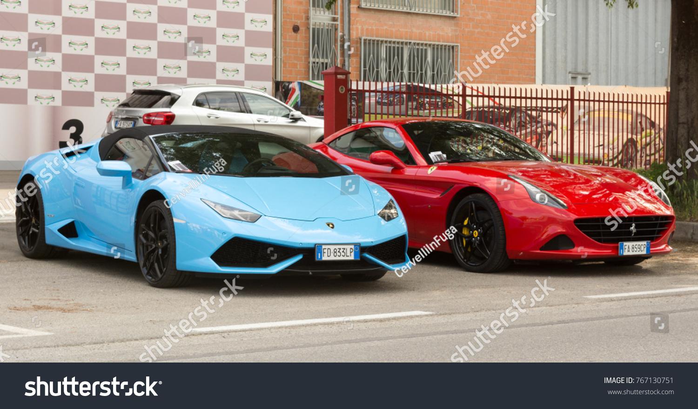Bologna 02 December 2017red Ferrari Lamborghini Stock Photo Edit Now 767130751