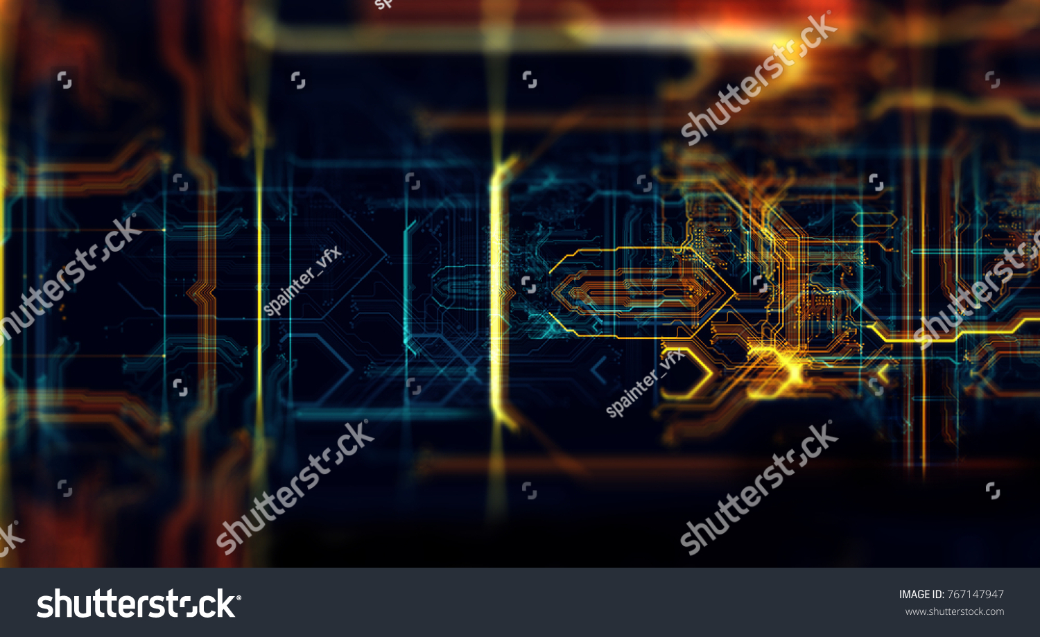 Circuit Board Background Can Be Used As Digital Dynamic Wallpaper Virus Text Stock Image Technology 3d Illustration Render Abstract Made Of Array