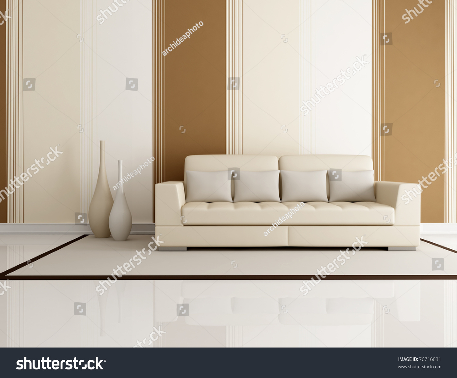 Beige and brown living room with beige couch and wallpaper for Beige wallpaper living room