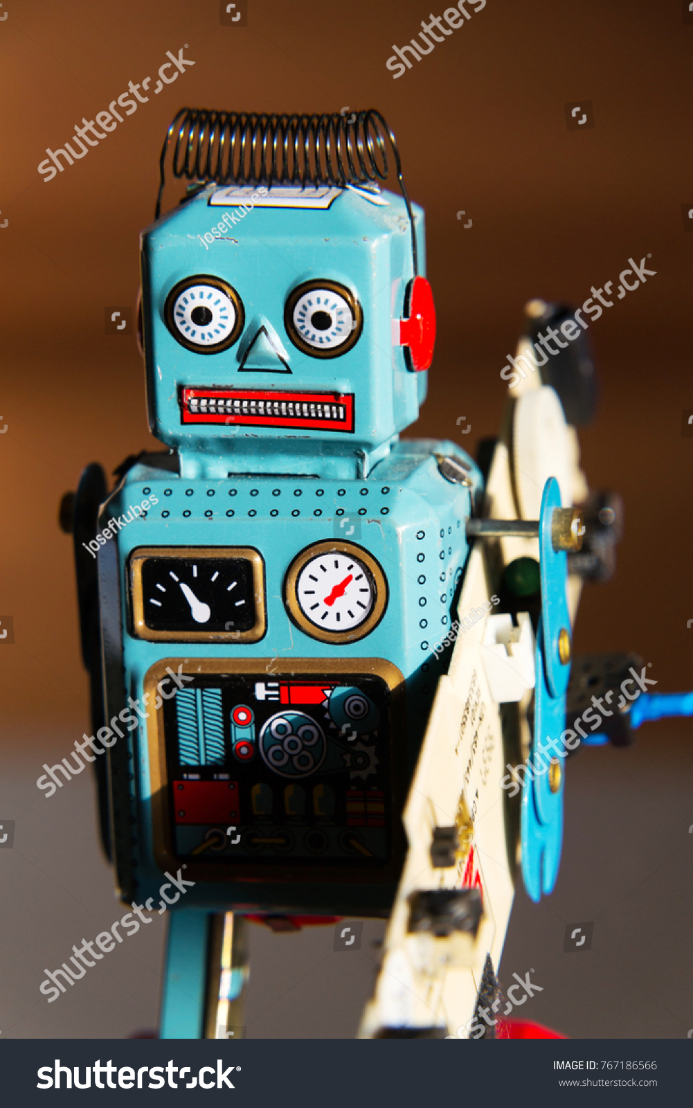 Angry Vintage Tin Toy Robot Carries Stock Photo Edit Now 767186566 Circuit Board Green Computer Artificial Intelligence Concept