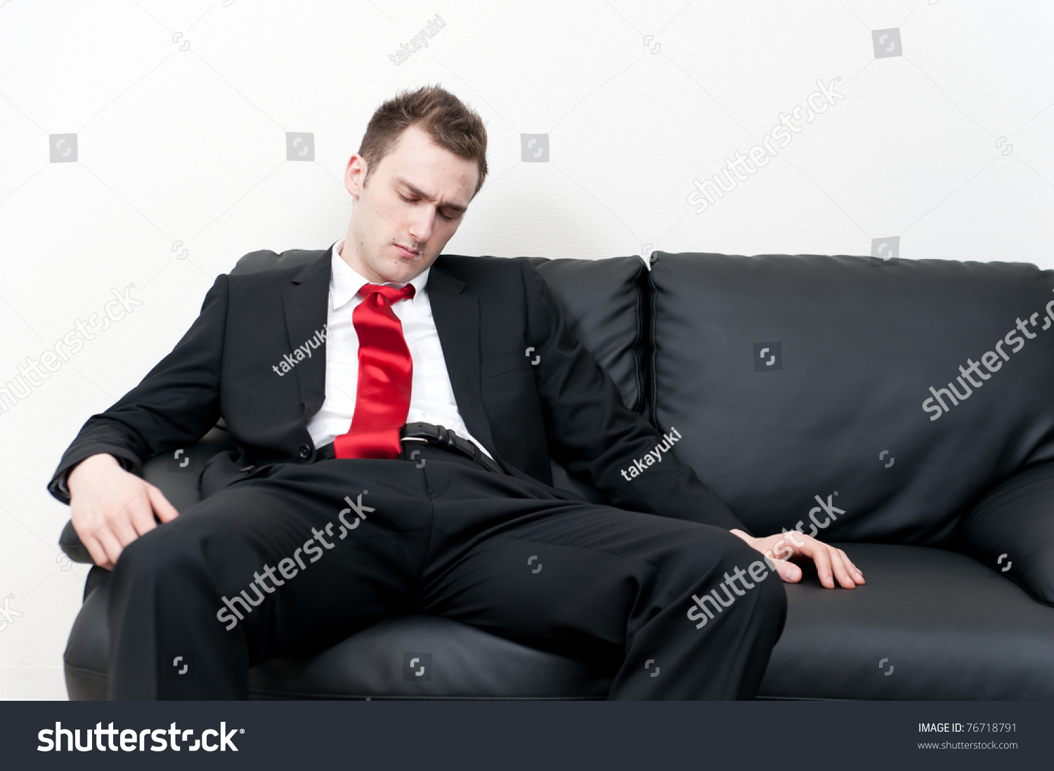 Guy Wearing Suit Sleeping On Couch Stock Photo 76718791 - Shutterstock