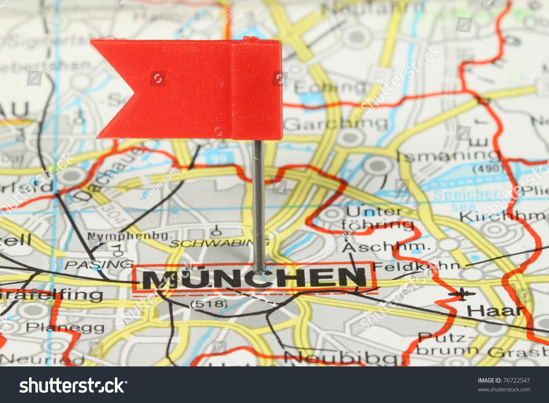 Munchen Munich Famous City Germany Red Stock Photo - Munchen germany map