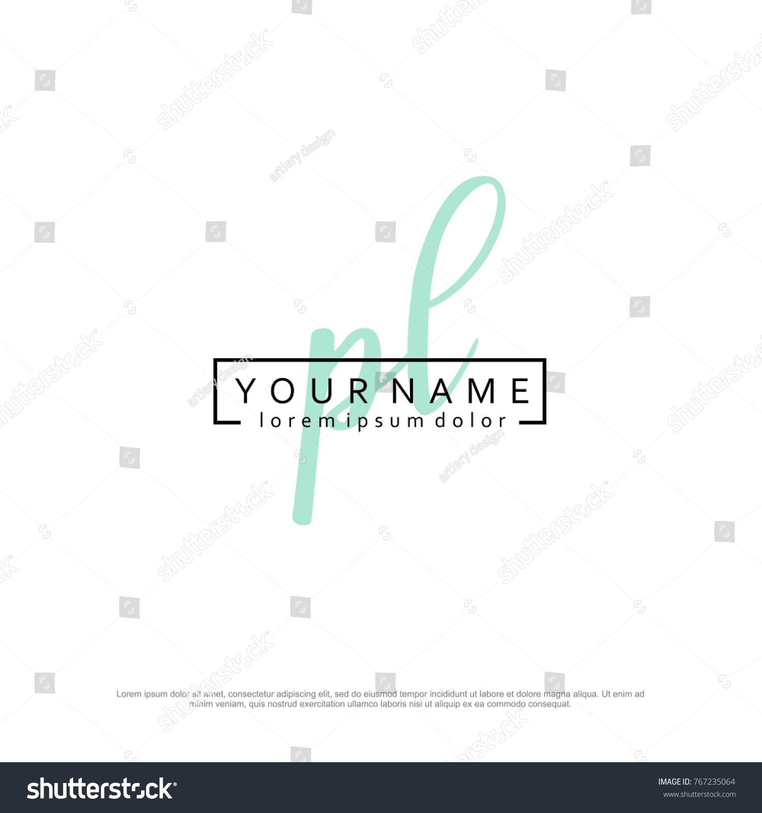 initial p l elegant logo template stock vector royalty free