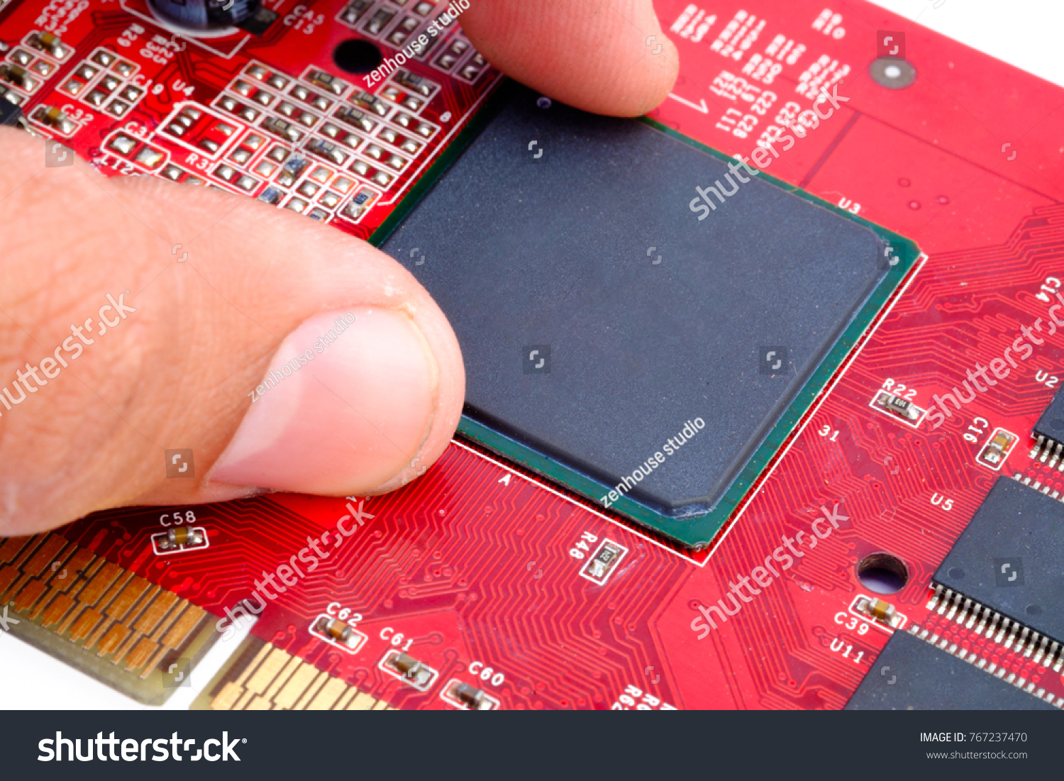 Engineer Pulling Graphic Processing Unit Gpu Stock Photo Edit Now Circuitry Of An Electronic Calculator Royalty Free Photography The On Graphics Card Adapter Vga