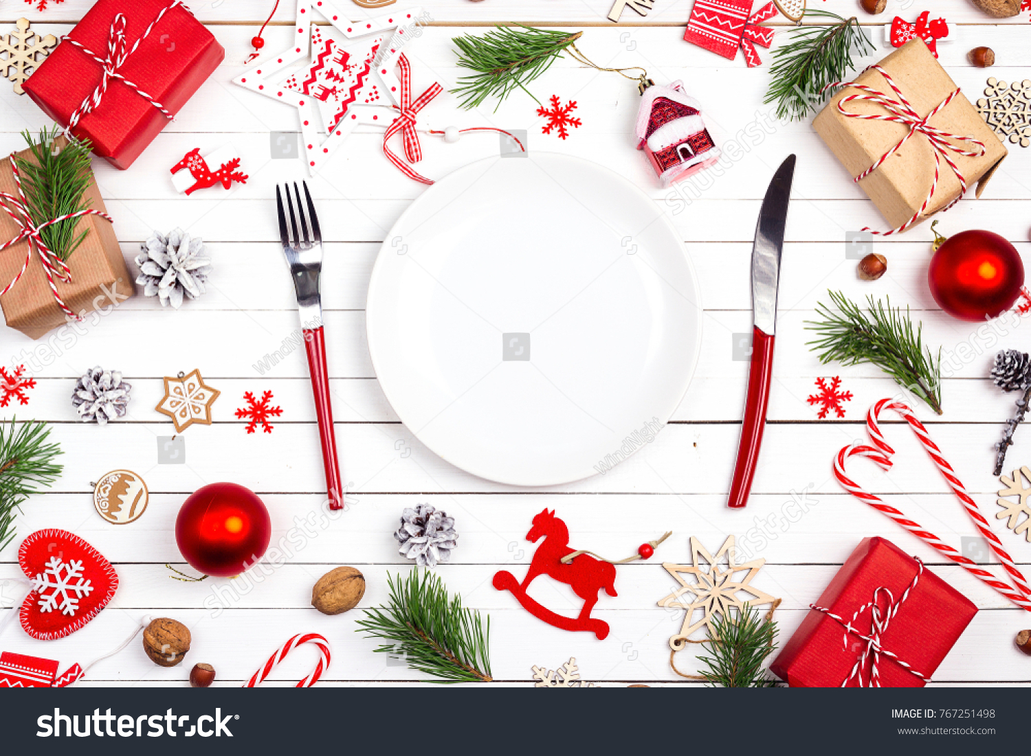 Festive Table Setting Cutlery Christmas Decorations Stock Photo ...