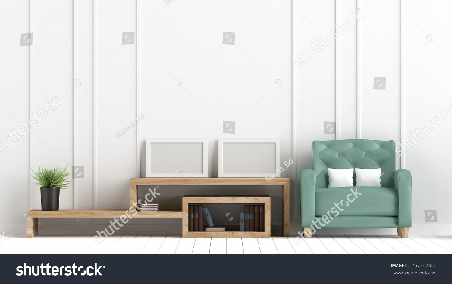 Living Room Green Leather Sofa Have Stock Illustration 767262340 ...