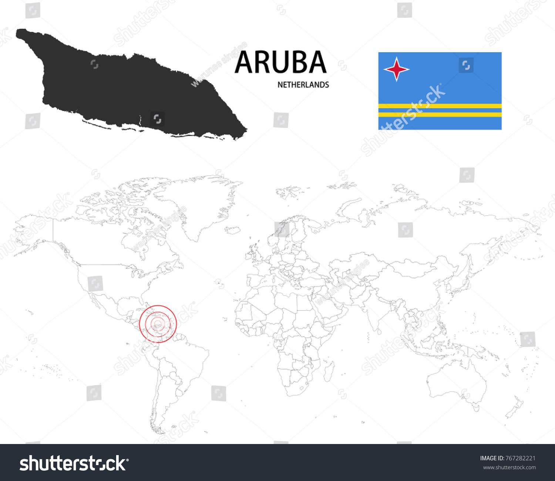 Picture of: Vector De Stock Libre De Regalias Sobre Aruba Netherlands Map On World Map767282221