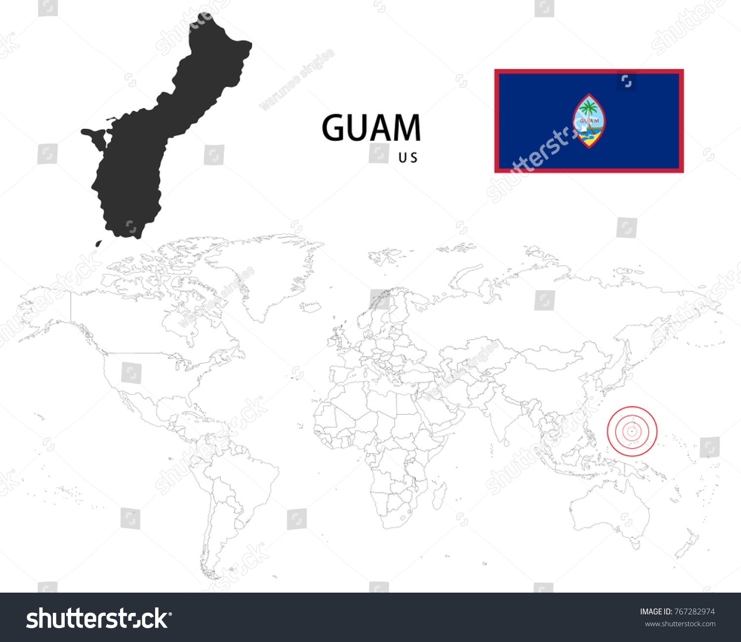Guam us map on world map stock vector 767282974 shutterstock gumiabroncs Image collections