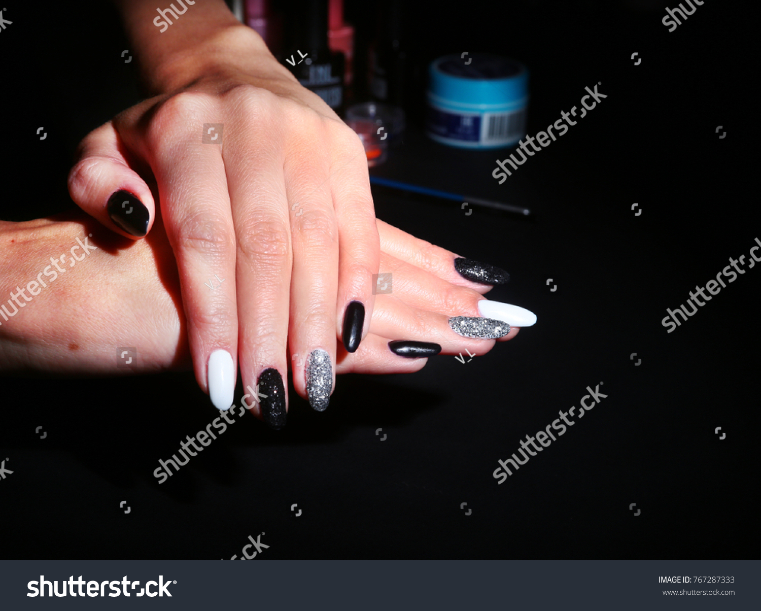 Black White Nail Art Manicure Holiday Stock Photo (Edit Now ...