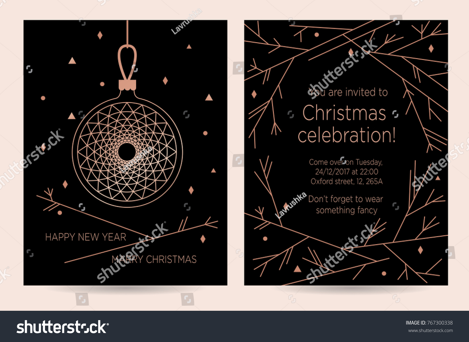 new year invitation card for the party vector template for greeting card
