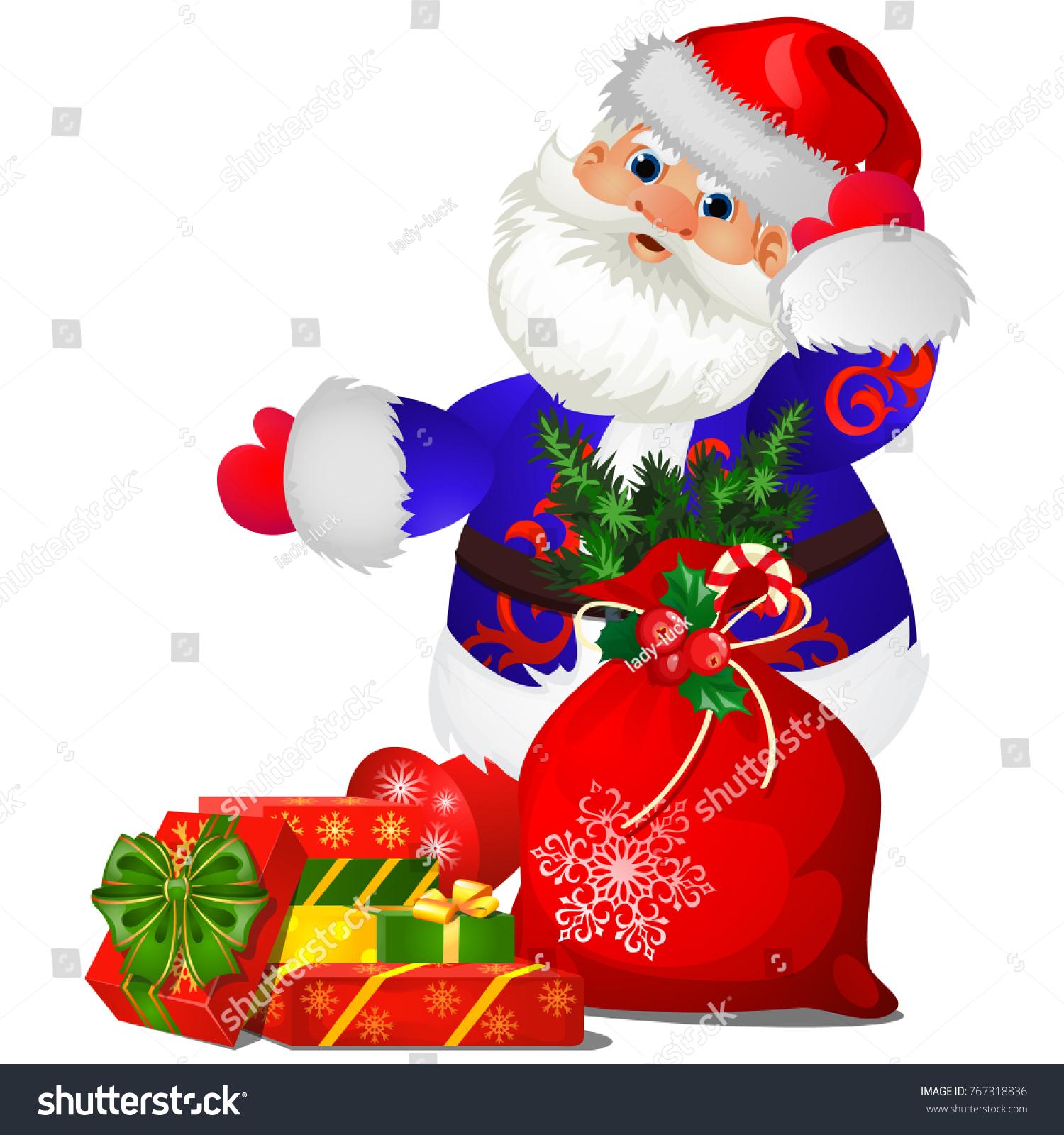 Animated Santa Claus Blue Christmas Costume Stock Vector (Royalty ...