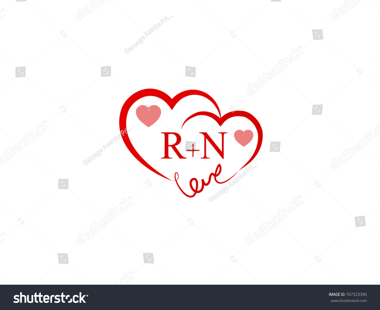 Rn Initial Heart Love Logo Template Stock Vector Royalty Free 767323390